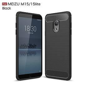 Чехол накладка для Meizu 15 Lite силиконовый, Carbon Fiber, черный