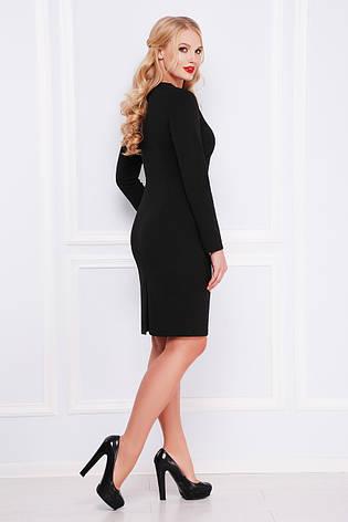Деловое офисное черное трикотажное платье размеры:xl, xxl, xxxl, фото 2