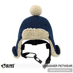 """Стильная шапка для собак от """"Is Pet"""" с бубоном"""