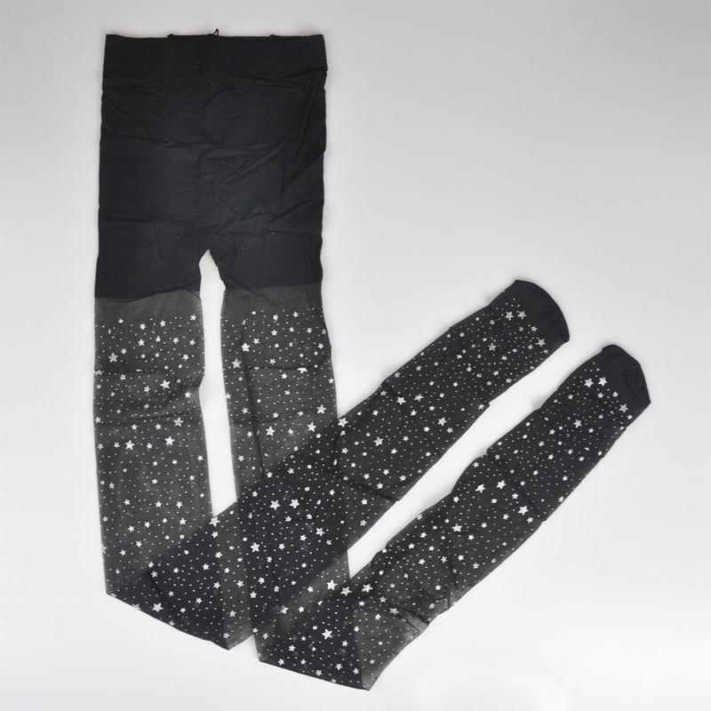Колготы чёрные со звёздочками- 314-12