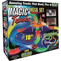 Детская дорога Magic Tracks с мостом и 2 автомобиля  (360 деталей) - гоночный светящийся трек
