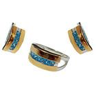 Срібний гарнітур із золотими вставками каблучка та сережки із чотирма кольоровими фіанітами