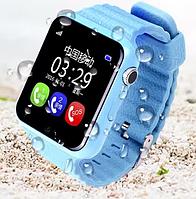 Уникальные детские умные часы V7K Smart Watch голубые с камерой и плеером.