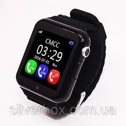 Уникальные детские умные часы V7K Smart Watch черные с камерой и плеером.