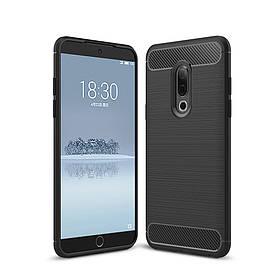 Чехол накладка для Meizu 15 силиконовый, Carbon Fiber, черный
