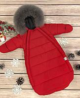 """Зимний Конверт-комбинезон c ручками для новорожденных  """"Gingle bells"""" от 0-6 мес, красный, фото 1"""