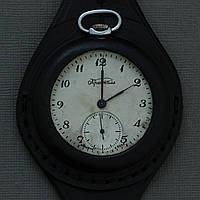 Часы Кристалл СССР карманные на кожаном ремне , фото 1