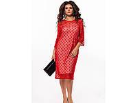 Женское вечернее платье с декорированной сеткой 25959 / размер 48,50,52,54 цвет красный