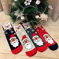 Теплые женские носки махровые с дедом морозом 25200066, фото 1