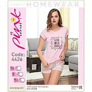 """Комплект двойка женский: футболка и шорты с принтом """"Summer time"""" Pink Secret (Турция) L"""