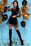 Нарядное Мини Платье с Прозрачным Верхом из Фатина Черное S-XL XL