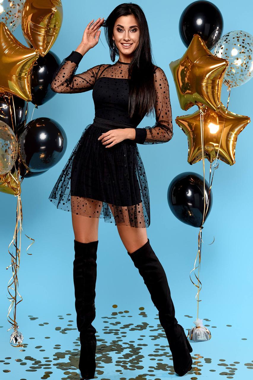 7ad33ccaad4adad Нарядное Мини Платье с Прозрачным Верхом из Фатина Черное S-XL ...