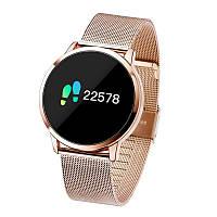 Newwear Q8 умные часы с измерением давления - Золотой с металлическим ремешком