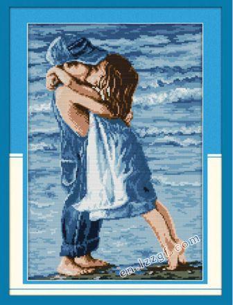 Влюбленные на берегу R005 Набор для вышивки крестом канва 14ст