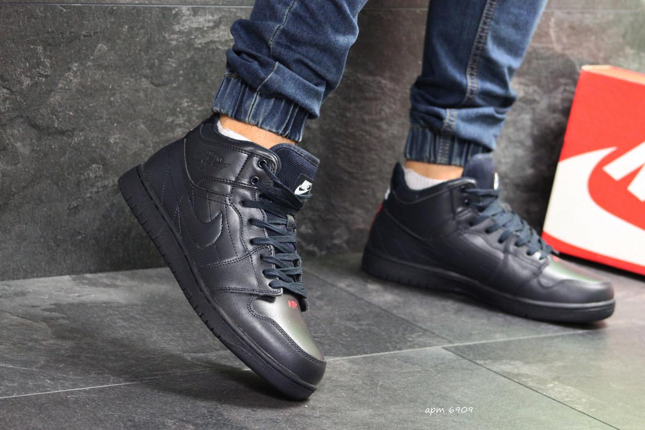 2ad7551f9229 Мужские зимние кроссовки высокие Nike Air Jordan реплика темно синие