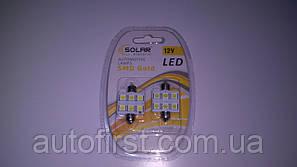 SOLAR Автолампа LED 12V SV8.5 T11x36 6smd 5050 white подсветка салона (1уп - 2 шт)
