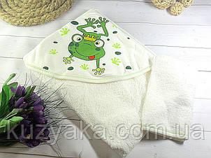"""Детское махровое полотенце с уголком """"Ква-ква"""""""