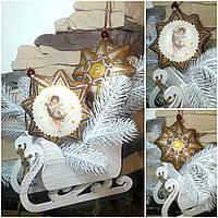 Рождественская звезда на две стороны, кофе, какао, корица, выс. 14 см., 115/95 (цена за 1 шт. + 20 гр.)