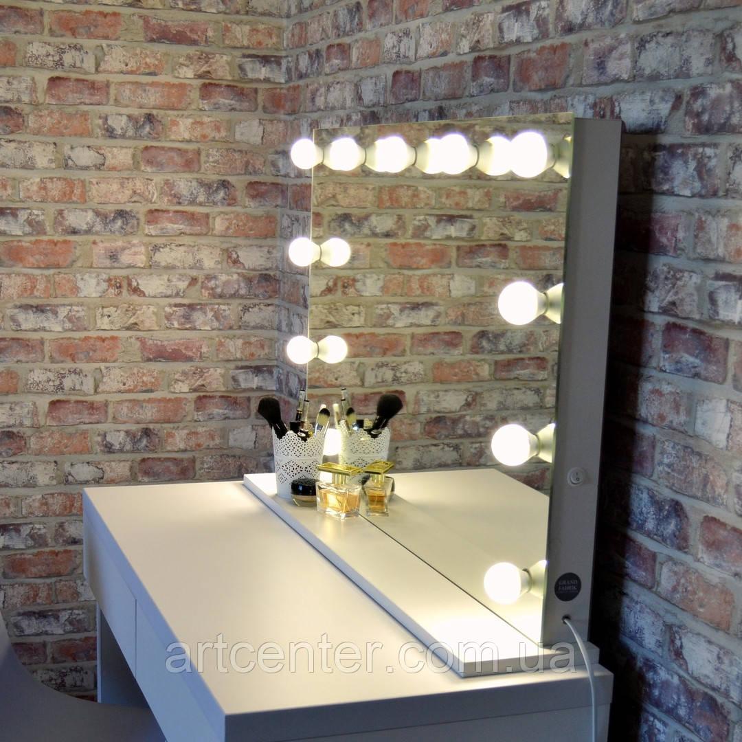 Гримерное зеркало на подставке, зеркало с лампочками, зеркало без рамы
