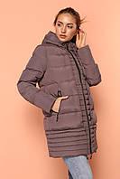 Зимняя куртка прямого кроя цвета капучино