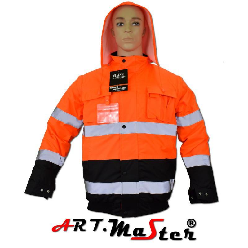 Куртка зимняя светоотражающая ARTMAS оранжевого цвета KURTKA FL short B orange Kat. 2