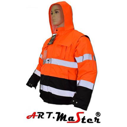 Куртка зимняя светоотражающая ARTMAS оранжевого цвета KURTKA FL short B orange Kat. 2, фото 2