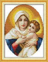 Божья матерь с младенцем  Набор для вышивки крестом канва 14ст