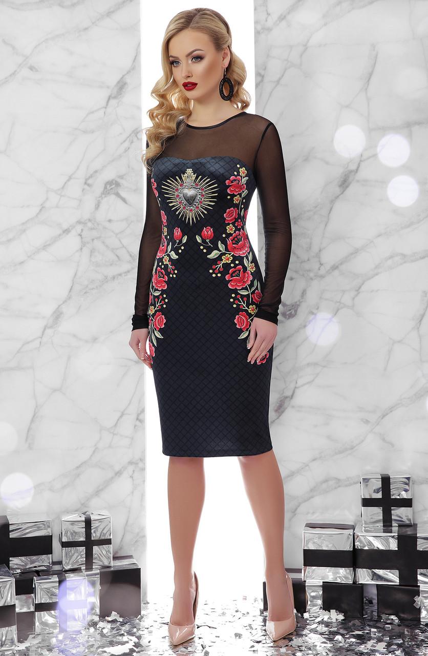 Вечірня велюрова сукня з принтом