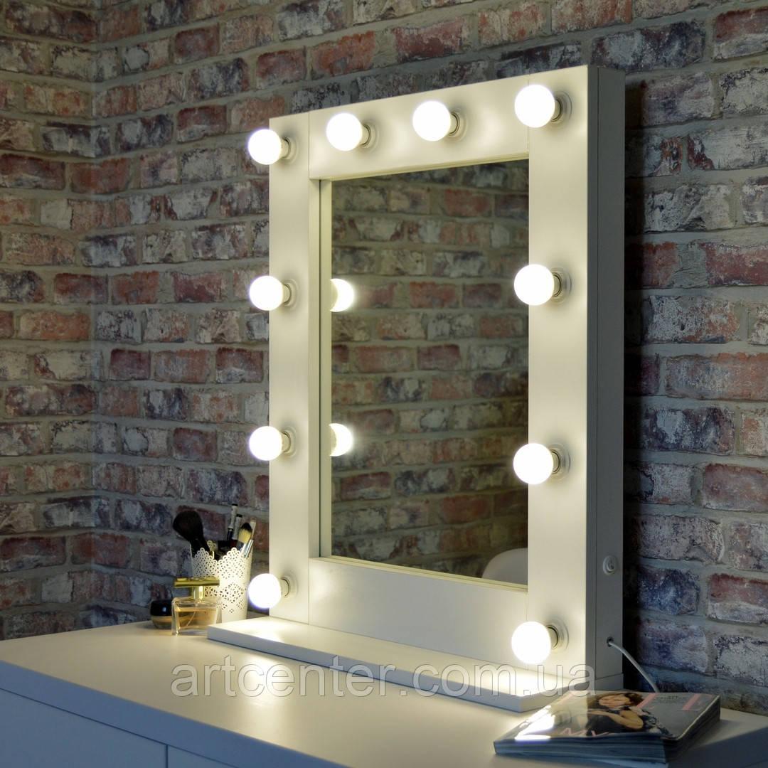 Зеркало гримерное на подставке, зеркало с лампочками по раме