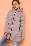 Зимняя женская стеганная куртка темно-бежевая