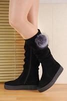 Удобные зимние замшевые сапоги на плоской подошве 3см натур.замша+ натуральный мех