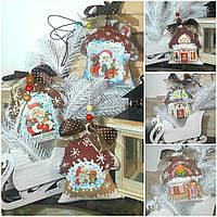 """Эксклюзивный """"Сказочный домик"""" с ручной росписью, двухсторонний, кофе,какао,корица, выс.13 см., 140 гр."""