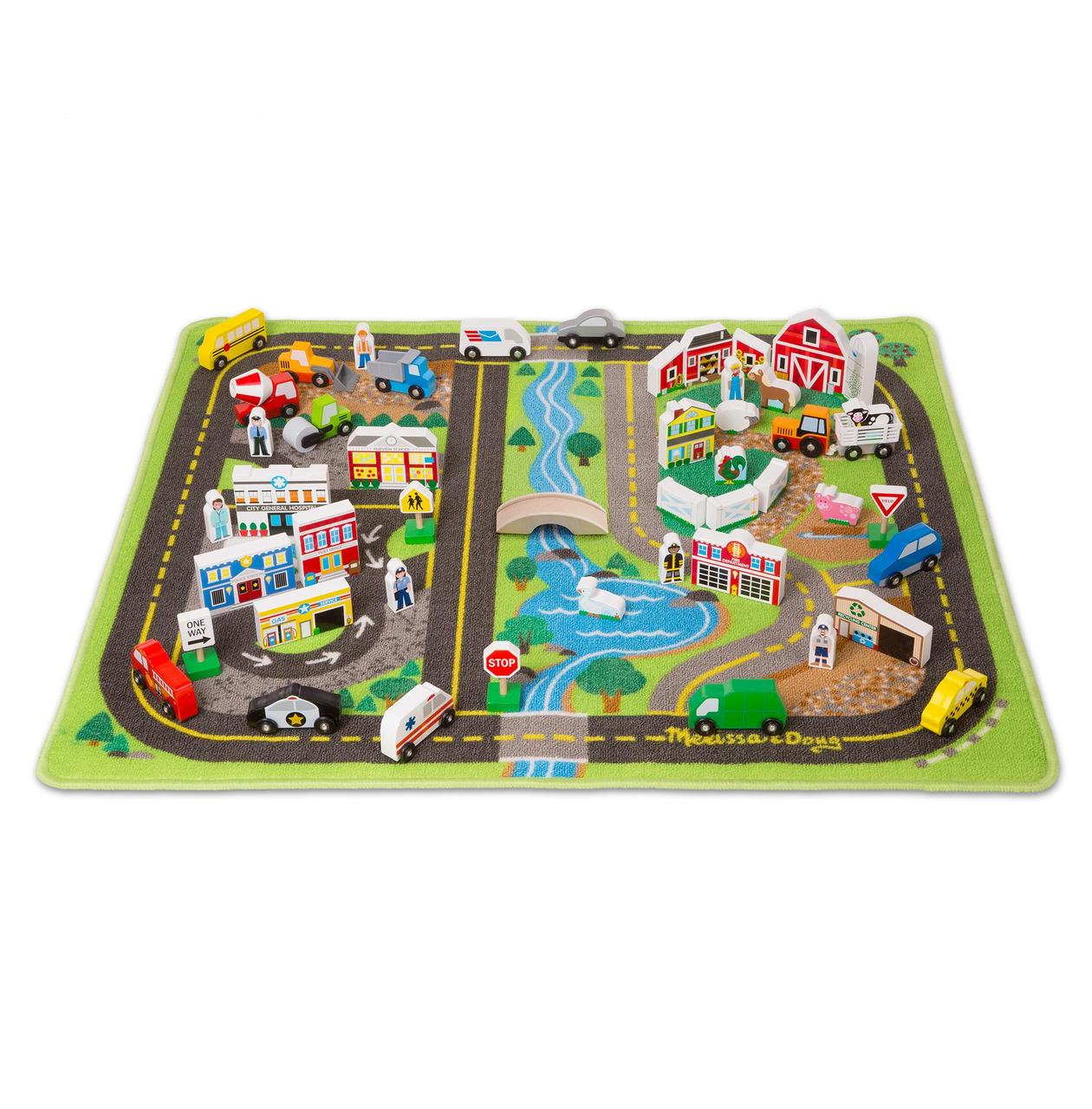 """Игровой коврик Melissa & Doug """"МЕГА Дорога"""" с деревянными игрушками"""