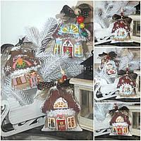 """Эксклюзив! """"Сказочный домик"""", двухсторонний, ручная роспись, декупаж, кофе, какао, корица, выс. 13 см., 140 гр"""