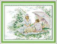 Влюбленные под зонтом   Набор для вышивки крестом канва 14ст