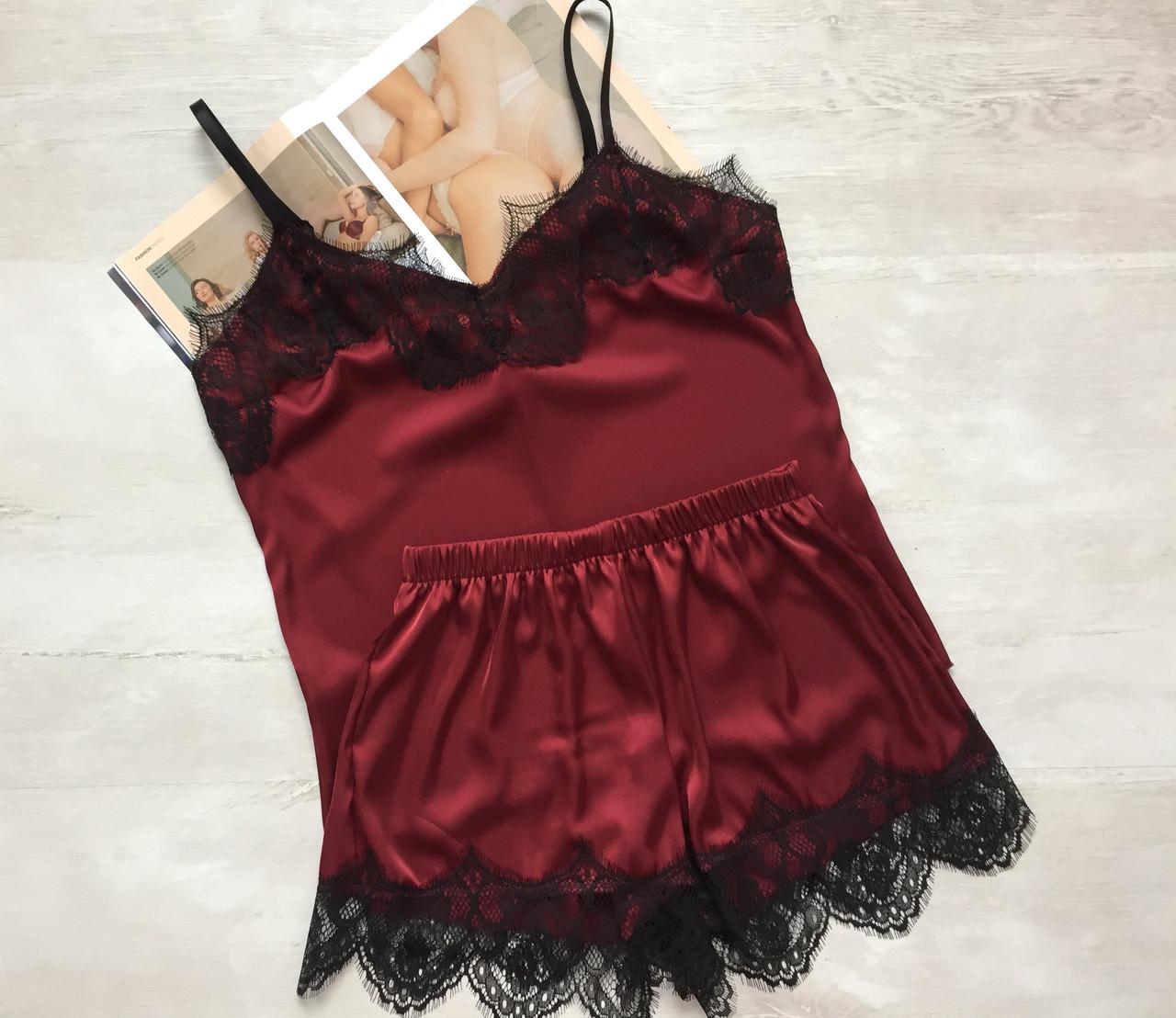 Женская шелковая пижама майка и шорты бордовая 03