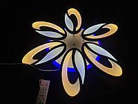 Светодиодная люстра с диммерным пультом на 6 лепестков черная, фото 1