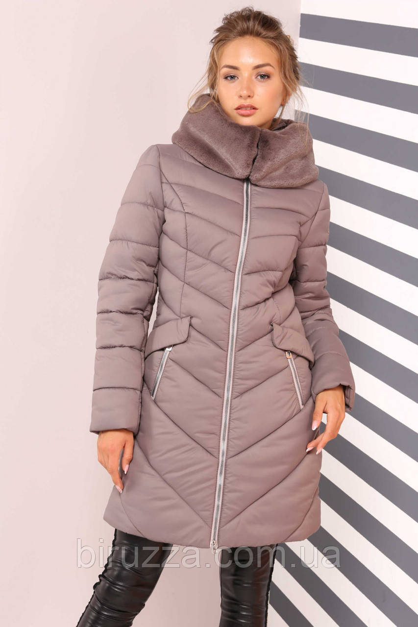 e1f5735e623 Женская зимняя куртка с воротником-капюшоном капучино  продажа