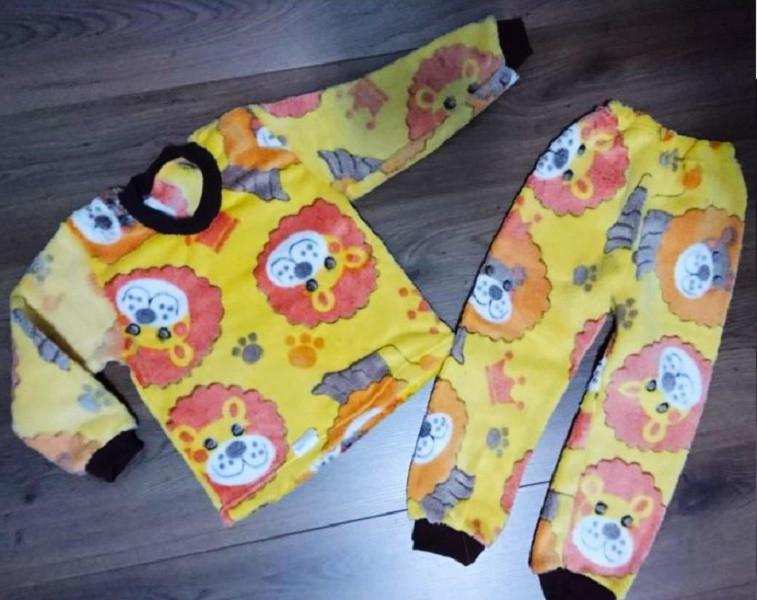 Теплая детская пижама для мальчика из велсофта желтого цвета с принтом Львенок 28-40 р