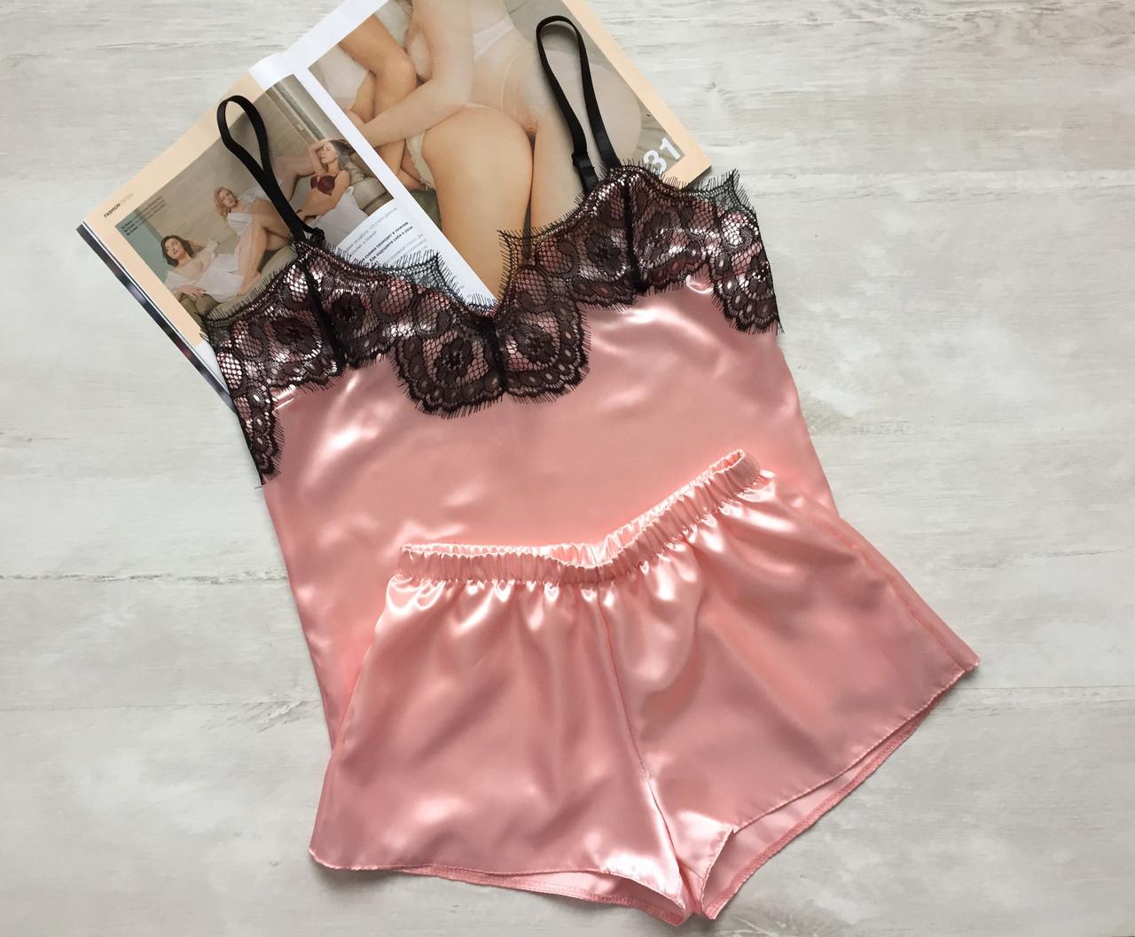 Пижама женская атлас майка и шорты персик