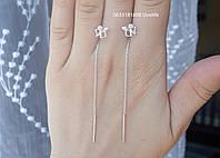 Серебряные серьги Протяжки ангелочки