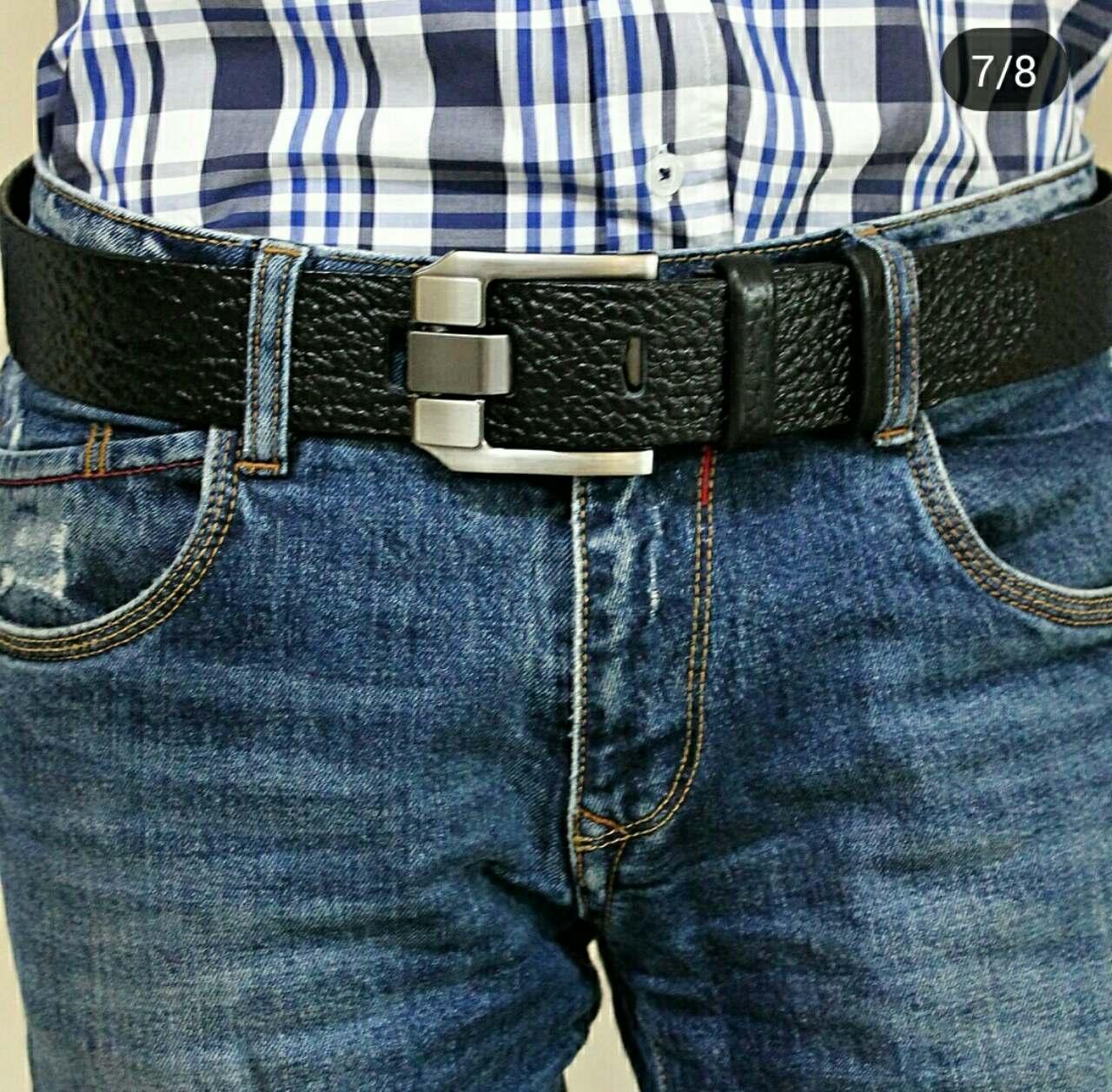 Стильний джинсовий  ремінь з натуральної шкіри  45 мм, гладкий,чорний