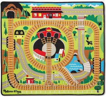 """Игровой коврик Melissa&Doug """"Железная дорога"""" с паровозиками"""