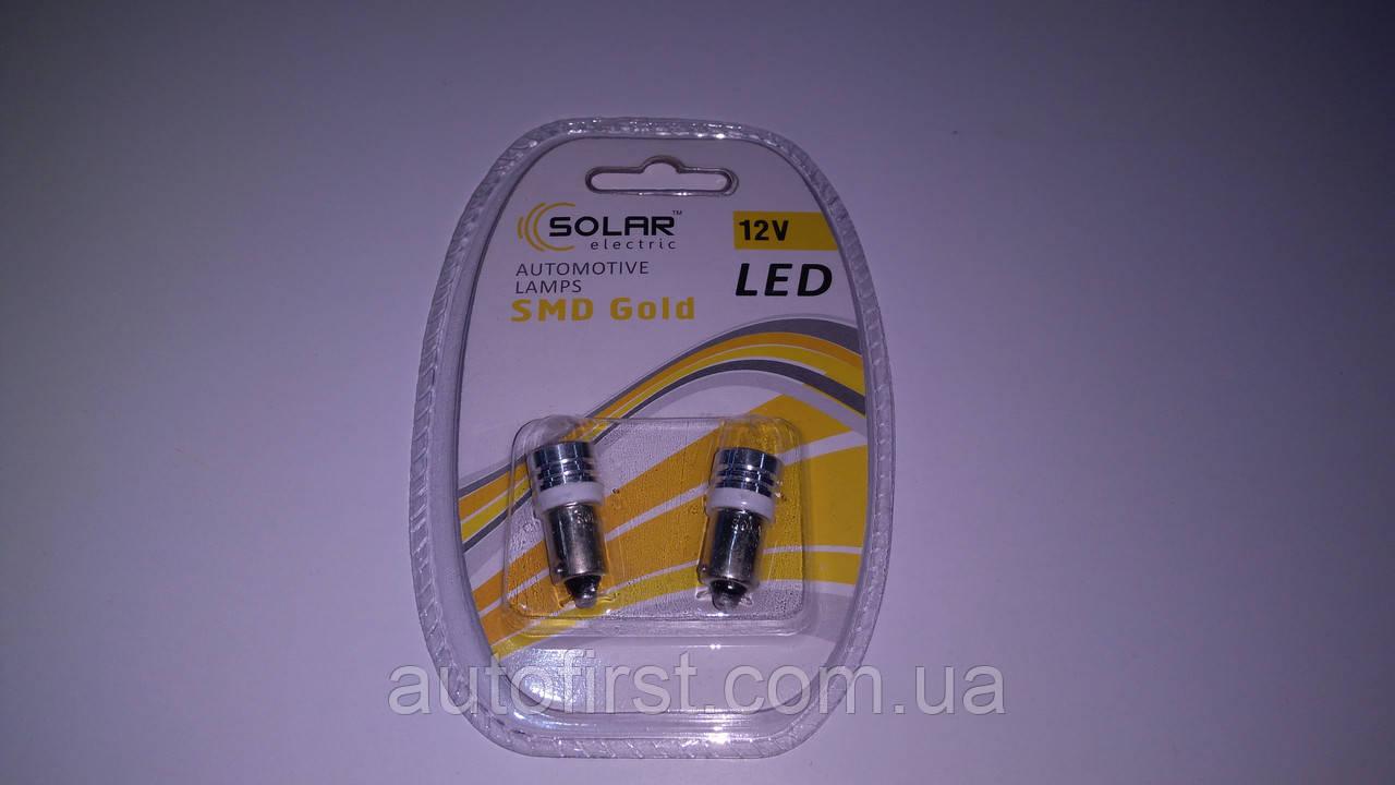 SOLAR Автолампа LED 12V T8.5 BA9s 1smd 1W white подсветка салона (2 шт)