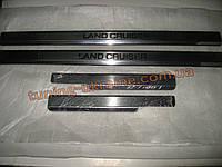 Хром накладки на пороги надпись гравировка для Toyota LC 200 2012+