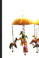 """Подвеска с колокольчиком """"Лошади"""" ткань (35х13х13 см) Индия"""