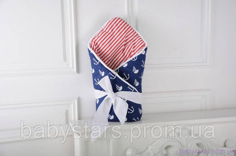 Демисезонный конверт-одеяло на выписку «Морской»