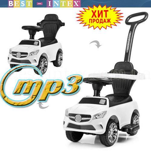 Каталка толокар M 3503C(MP3)-1 Mercedes Белая 2 в 1 Bambi