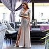 Сверкающее вечернее платье макси с разрезами от бедра и подчеркивающим талию поясом, фото 5