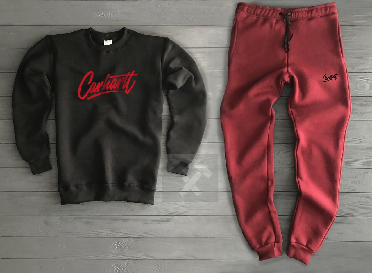Спортивный костюм Carhartt черный с красным топ реплика